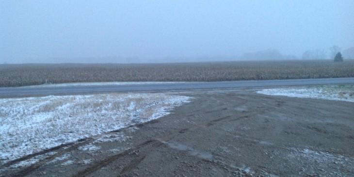 Snowy field in Michigan