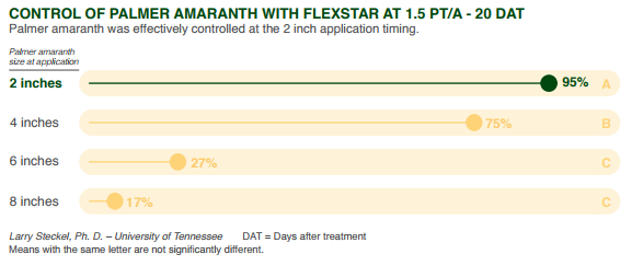 This agronomic chart shows control of palmer amaranth with Flexstar.