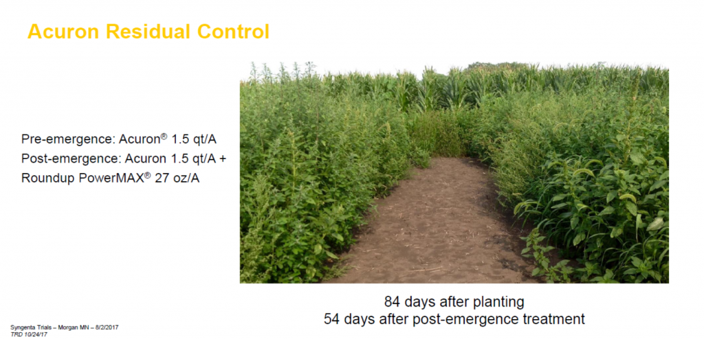 This chart shows Acuron residual control compared to Roundup PowerMAX.